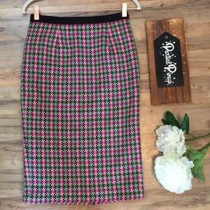 Boden Pink Green Black Wool Pencil Skirt US 4L